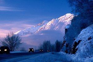 traveling Seward Highway winter